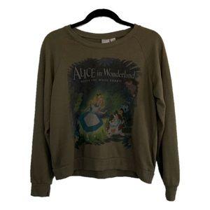 Disney Large Olive Alice in Wonderland Sweater